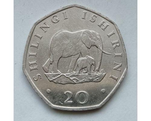 20 шиллингов 1992 год Танзания Слоны
