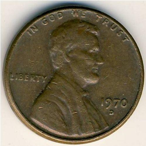 1 цент 1970 D года. США. Америка