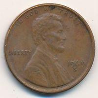 1 цент 1969 год S США