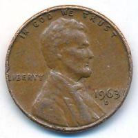 1 цент 1963 год D США