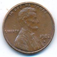 1 цент 1982 год D США