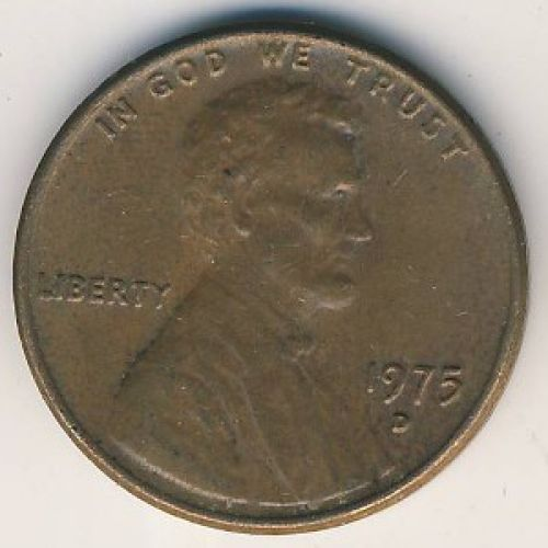1 цент 1975 D года. США. Америка