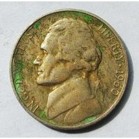 5 центов 1960 D года США состояние VF