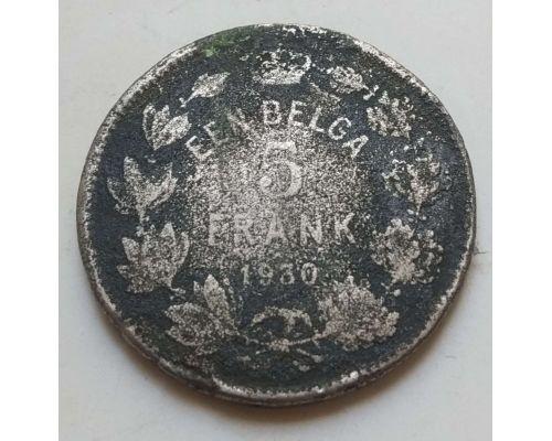 5 франков 1930 год Бельгия EEN BELGA