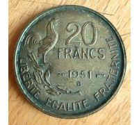 20 франков 1951 B год Франция Петух