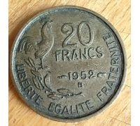 20 франков 1952 B год Франция Петух