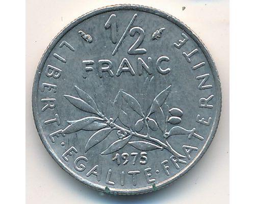 1/2 франка 1975 год Франция