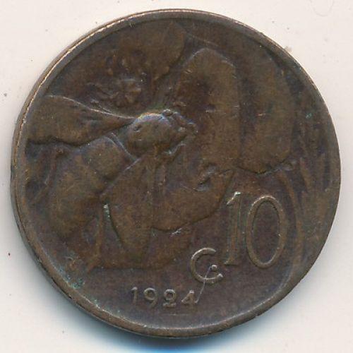 10 чентезимо 1924 год Италия Пчела