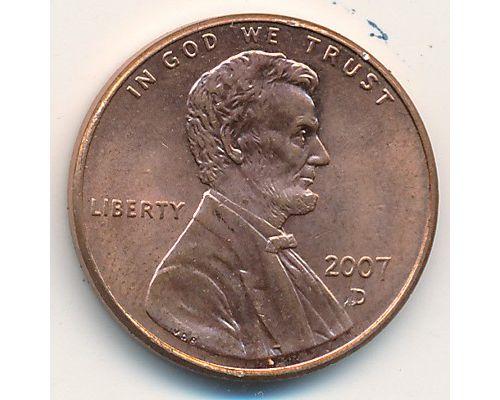 1 цент 2007-2008 год D США