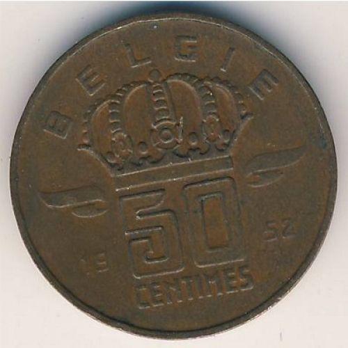 50 сентим 1952-1964 год Бельгия