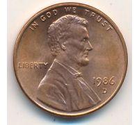 1 цент 1986 год D США