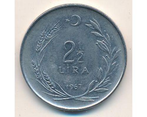 2 1/2 лиры 1967 год Турция