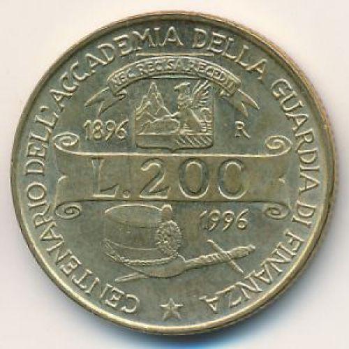 200 лир 1996 год Италия 100 лет финансовой полиции