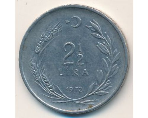 2 1/2 лиры 1972 год Турция