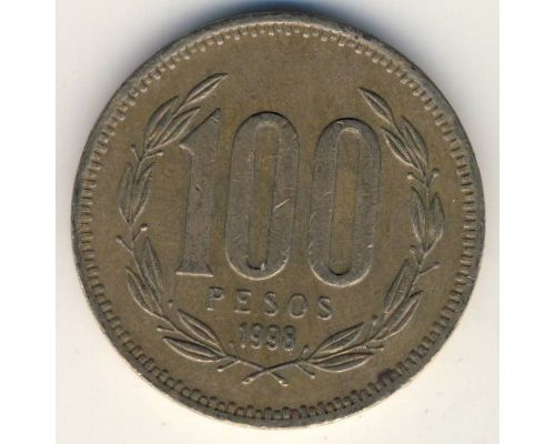 100 песо 1998 год Чили