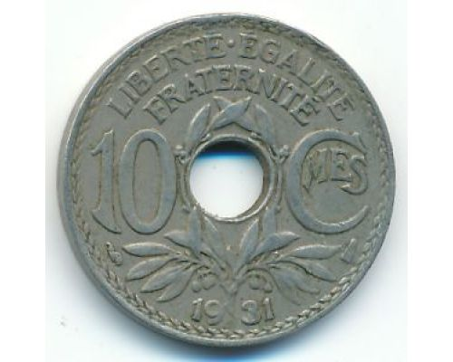 10 сентим 1931 год Франция (сантим)