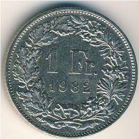 1 франк 1982 год Швейцария