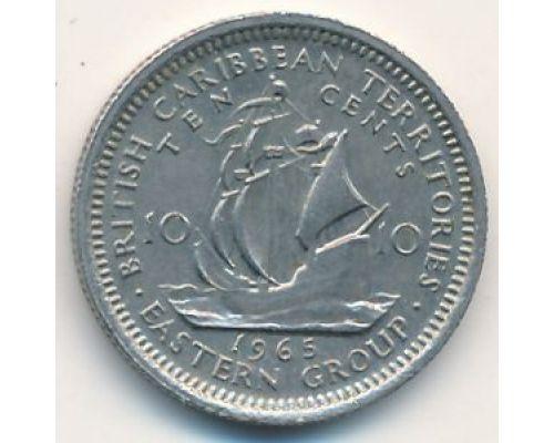 10 центов 1965 год Восточные Карибы Парусник