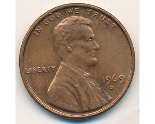 1 цент 1969 год D США