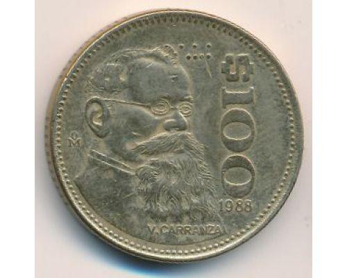 100 песо 1988 год Мексика Карранса
