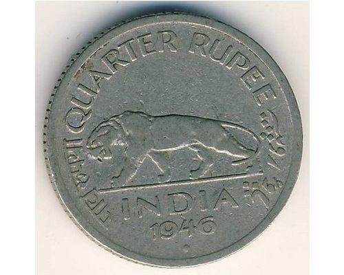 1/4 рупии 1946 год Британская Индия Индийский Тигр Георг V