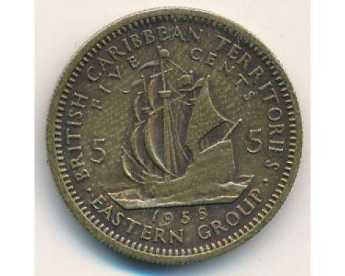 5 центов 1955 год Восточные Карибы Парусник