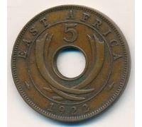 5 центов 1922 год Восточная Африка
