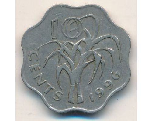 10 центов 1996 год Свазиленд Эсватини Мсвати III