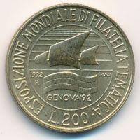 200 лир 1992 год Италия Выставка марок в Генуе