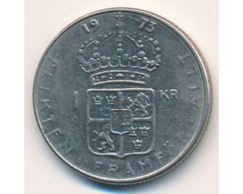 1 крона 1973 год Швеция Густав VI Адольф