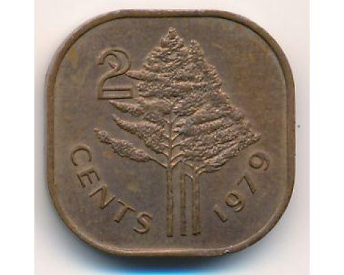 2 цента 1979 год Свазиленд Эсватини Cобхуза II