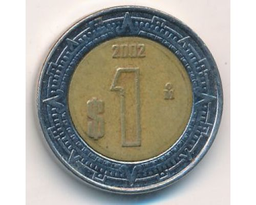 1 новый песо 2002 год Мексика