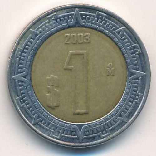 1 новый песо 2003 год Мексика
