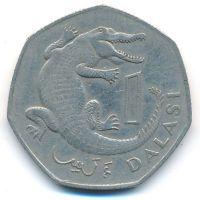 1 даласи 1987 год Гамбия крокодил