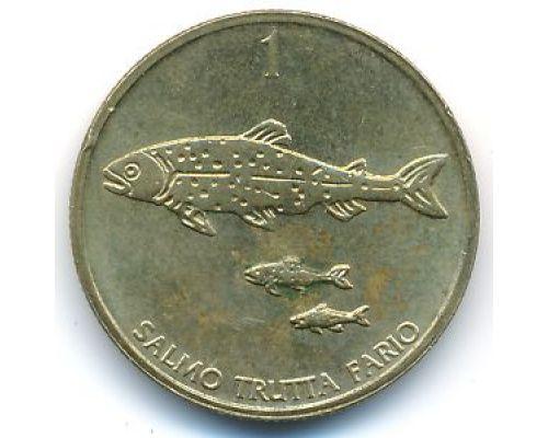 1 толар 1996 год Словения Кумжа