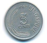 5 центов 1967 год Сингапур
