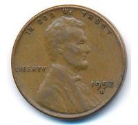 1 цент 1952 год D США Пшеничный Цент