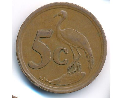 5 центов 1993 год ЮАР Журавль