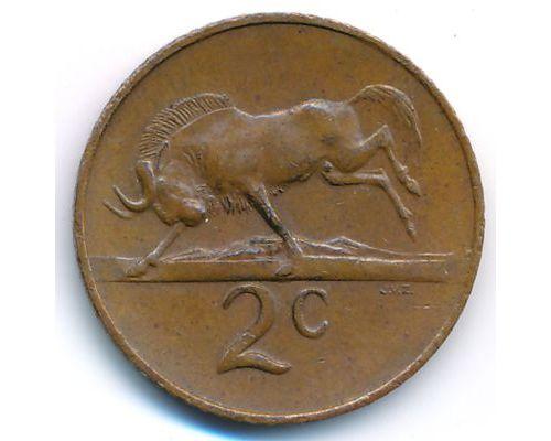 2 цента 1966 год ЮАР Антилопа Гну Йохан Антонисзон ван Рибек