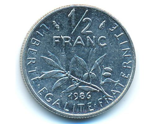 1/2 франка 1986 год Франция