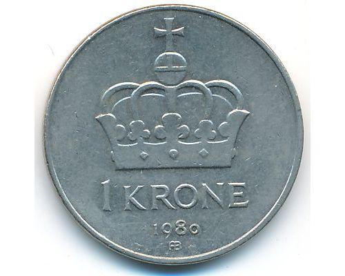 1 крона 1980 год Норвегия