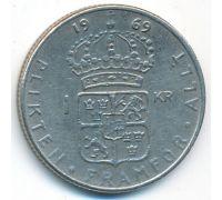 1 крона 1969 год Швеция Густав VI Адольф