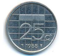 25 центов 1988 год Нидерланды