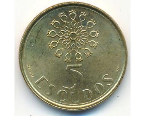 5 эскудо 1990 год Португалия