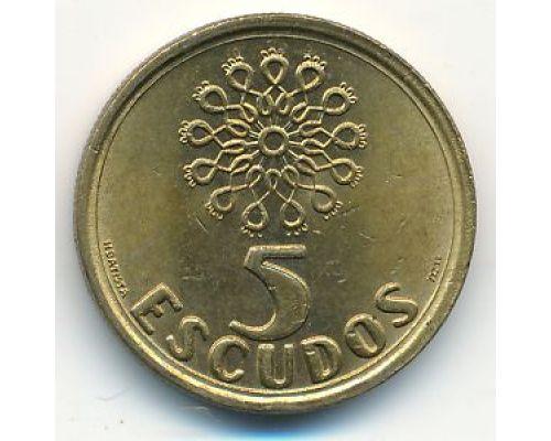 5 эскудо 1997 год Португалия