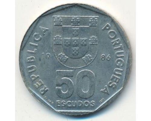 50 эскудо 1986 год Португалия Парусный Корабль