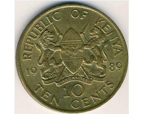 10 центов 1989 год Кения Даниель Арап Мои