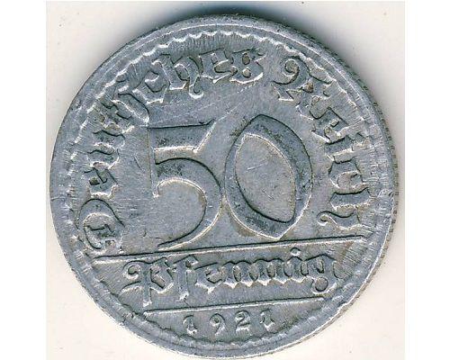 50 пфеннигов 1921 год D Германия Веймарская Республика