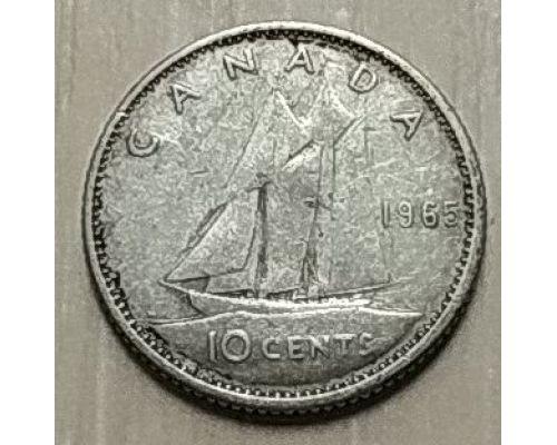 10 центов 1965 год Канада Серебро