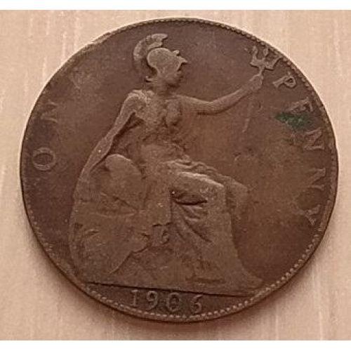 1 пенни 1906 год Великобритания